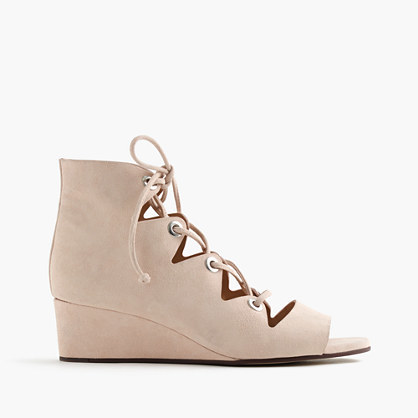 Laila Lace Up Wedges In Suede - predominant colour: blush; secondary colour: blush; material: suede; heel height: mid; ankle detail: ankle tie; heel: wedge; toe: open toe/peeptoe; style: strappy; finish: plain; pattern: plain; occasions: creative work; season: s/s 2016; wardrobe: investment