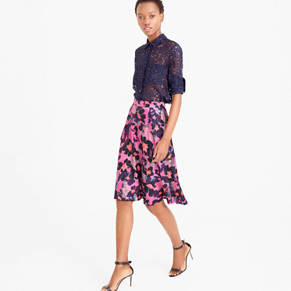 Collection A Line Silk Twill Skirt In Watercolor Floral - fit: loose/voluminous; waist: high rise; predominant colour: hot pink; length: on the knee; style: a-line; fibres: silk - 100%; occasions: occasion, creative work; hip detail: soft pleats at hip/draping at hip/flared at hip; waist detail: narrow waistband; texture group: silky - light; pattern type: fabric; pattern: florals; pattern size: big & busy (bottom); multicoloured: multicoloured; season: s/s 2016