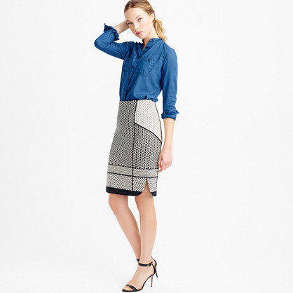 Petite Paneled Geometric Jacquard Pencil Skirt - style: pencil; fit: tailored/fitted; waist: high rise; predominant colour: black; occasions: work, creative work; length: on the knee; fibres: cotton - mix; pattern type: fabric; pattern: patterned/print; texture group: brocade/jacquard; pattern size: big & busy (bottom); season: s/s 2016; wardrobe: highlight