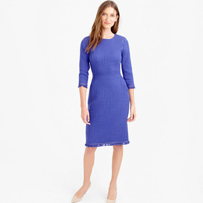 Long Sleeve Tweed Dress With Fringe - style: shift; fit: tailored/fitted; pattern: plain; predominant colour: royal blue; length: on the knee; fibres: cotton - 100%; occasions: occasion; neckline: crew; sleeve length: 3/4 length; sleeve style: standard; pattern type: fabric; texture group: other - light to midweight; season: s/s 2016