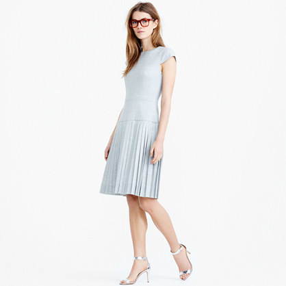 9am Dress In Super 120s Wool - sleeve style: capped; pattern: plain; predominant colour: pale blue; length: on the knee; fit: fitted at waist & bust; style: fit & flare; fibres: wool - 100%; occasions: occasion; neckline: crew; hip detail: adds bulk at the hips; sleeve length: short sleeve; texture group: knits/crochet; pattern type: knitted - fine stitch; season: s/s 2016; wardrobe: event