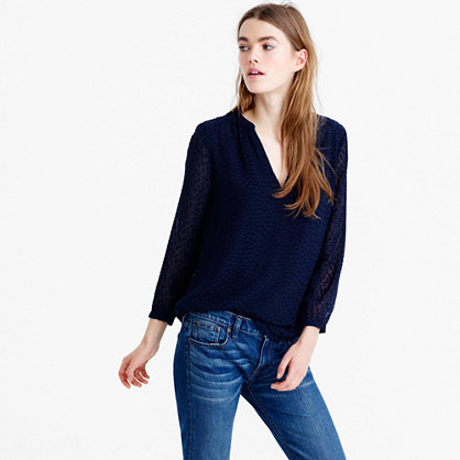 Silk Clip Dot Top - neckline: v-neck; pattern: plain; predominant colour: navy; occasions: casual, work, creative work; length: standard; style: top; fibres: silk - 100%; fit: body skimming; sleeve length: 3/4 length; sleeve style: standard; texture group: silky - light; pattern type: fabric; season: s/s 2016; wardrobe: basic
