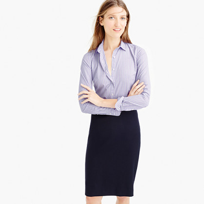Perfect Shirt In Lilac Stripe - neckline: shirt collar/peter pan/zip with opening; pattern: plain; style: shirt; predominant colour: lilac; occasions: work; length: standard; fibres: cotton - 100%; fit: body skimming; sleeve length: long sleeve; sleeve style: standard; pattern type: fabric; pattern size: light/subtle; texture group: other - light to midweight; season: s/s 2016; wardrobe: highlight