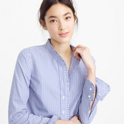 Ruffled Button Up Shirt In Stripe - pattern: plain; style: shirt; predominant colour: pale blue; secondary colour: pale blue; occasions: casual, creative work; length: standard; neckline: collarstand & mandarin with v-neck; fibres: cotton - 100%; fit: body skimming; sleeve length: long sleeve; sleeve style: standard; texture group: cotton feel fabrics; pattern type: fabric; season: s/s 2016; wardrobe: highlight