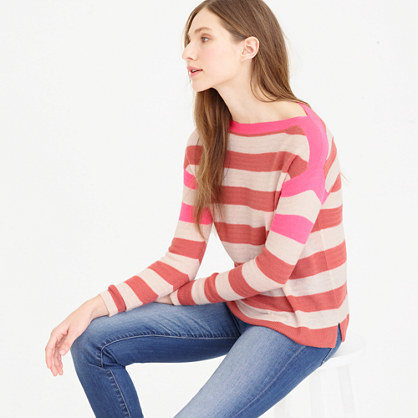 Italian Featherweight Cashmere Striped Boatneck Sweater - neckline: slash/boat neckline; pattern: horizontal stripes; style: standard; secondary colour: ivory/cream; predominant colour: pink; occasions: casual, creative work; length: standard; fit: standard fit; fibres: cashmere - 100%; sleeve length: long sleeve; sleeve style: standard; texture group: knits/crochet; pattern type: knitted - fine stitch; pattern size: standard; multicoloured: multicoloured; season: s/s 2016; wardrobe: highlight
