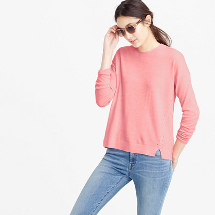 Lightweight Wool Tunic Sweater - pattern: plain; style: standard; predominant colour: pink; occasions: casual, creative work; length: standard; fibres: acrylic - mix; fit: loose; neckline: crew; sleeve length: long sleeve; sleeve style: standard; texture group: knits/crochet; pattern type: knitted - fine stitch; season: s/s 2016; wardrobe: highlight