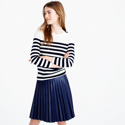 Tippi Striped Sweater With Shoulder Buttons - neckline: round neck; pattern: horizontal stripes; style: standard; secondary colour: white; predominant colour: navy; occasions: casual, work, creative work; length: standard; fibres: wool - mix; fit: standard fit; sleeve length: long sleeve; sleeve style: standard; texture group: knits/crochet; pattern type: knitted - fine stitch; pattern size: big & busy (top); season: s/s 2016; wardrobe: highlight
