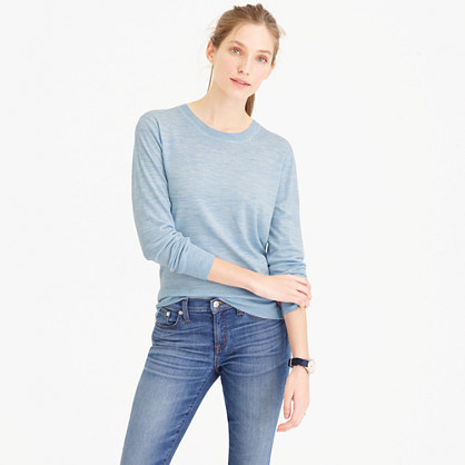 Featherweight Merino Wool Crewneck Sweater - neckline: round neck; pattern: plain; style: standard; predominant colour: pale blue; occasions: casual, work, creative work; length: standard; fibres: wool - 100%; fit: standard fit; sleeve length: long sleeve; sleeve style: standard; texture group: knits/crochet; pattern type: knitted - fine stitch; season: s/s 2016; wardrobe: highlight