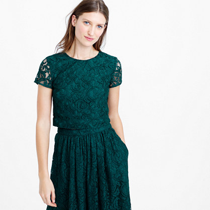 Floral Lace Short Sleeve Crop Top - neckline: round neck; length: cropped; predominant colour: emerald green; style: top; occasions: occasion; fit: straight cut; sleeve length: short sleeve; sleeve style: standard; texture group: lace; pattern type: fabric; pattern size: standard; pattern: patterned/print; fibres: viscose/rayon - mix; embellishment: lace; season: s/s 2016; wardrobe: event