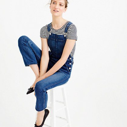 Point Sur Demi Boot Overalls - length: standard; sleeve style: standard vest straps/shoulder straps; pattern: plain; predominant colour: denim; occasions: casual; fit: body skimming; fibres: cotton - stretch; sleeve length: sleeveless; texture group: denim; style: dungarees; neckline: low square neck; bust detail: bulky details at bust; pattern type: fabric; season: s/s 2016; wardrobe: highlight