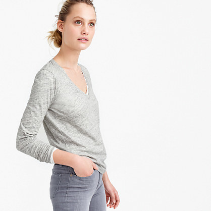 Vintage Cotton Long Sleeve V Neck T Shirt In Metallic - neckline: v-neck; pattern: plain; style: t-shirt; predominant colour: light grey; occasions: casual; length: standard; fibres: cotton - 100%; fit: body skimming; sleeve length: long sleeve; sleeve style: standard; pattern type: fabric; texture group: jersey - stretchy/drapey; season: s/s 2016; wardrobe: basic