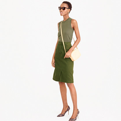 A Line Skirt With Pockets - pattern: plain; waist: high rise; predominant colour: khaki; occasions: casual, creative work; length: on the knee; style: a-line; fibres: cotton - 100%; fit: straight cut; pattern type: fabric; texture group: other - light to midweight; season: s/s 2016; wardrobe: basic