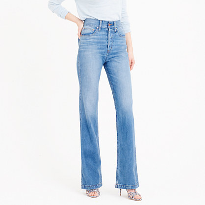 Point Sur High Rise Flare Jean In Quentin Wash - style: flares; length: standard; pattern: plain; waist: high rise; predominant colour: denim; occasions: casual, creative work; fibres: cotton - stretch; jeans detail: shading down centre of thigh; texture group: denim; pattern type: fabric; season: s/s 2016; wardrobe: basic
