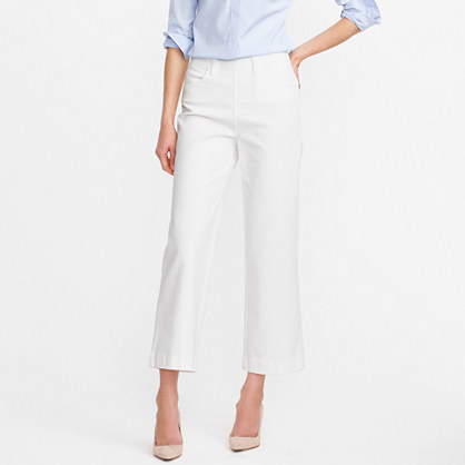 Tall Side Zip Rayner Jean In White - pattern: plain; waist: mid/regular rise; style: wide leg; predominant colour: white; length: ankle length; fibres: cotton - stretch; texture group: denim; pattern type: fabric; occasions: creative work; season: s/s 2016