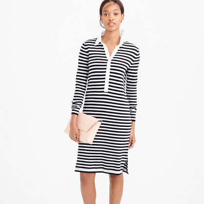 Striped Polo Sweater Dress In Merino Wool - style: jumper dress; neckline: shirt collar/peter pan/zip with opening; pattern: horizontal stripes; predominant colour: black; secondary colour: black; occasions: casual; length: on the knee; fit: body skimming; fibres: wool - 100%; sleeve length: long sleeve; sleeve style: standard; pattern type: fabric; pattern size: standard; texture group: jersey - stretchy/drapey; season: s/s 2016; wardrobe: basic; embellishment location: bust