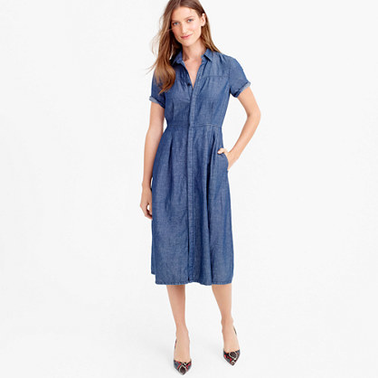 Denim Shirtdress - style: shirt; length: below the knee; neckline: shirt collar/peter pan/zip with opening; fit: fitted at waist; pattern: plain; waist detail: fitted waist; predominant colour: denim; occasions: casual, creative work; fibres: cotton - mix; sleeve length: half sleeve; sleeve style: standard; texture group: denim; pattern type: fabric; season: s/s 2016; wardrobe: basic