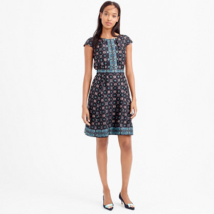 Petite Silk Cap Sleeve Dress In Mirrored Floral - style: shift; neckline: round neck; sleeve style: capped; fit: fitted at waist; secondary colour: diva blue; predominant colour: navy; occasions: casual, creative work; length: just above the knee; fibres: silk - 100%; sleeve length: short sleeve; texture group: crepes; pattern type: fabric; pattern size: big & busy; pattern: patterned/print; season: s/s 2016; wardrobe: highlight