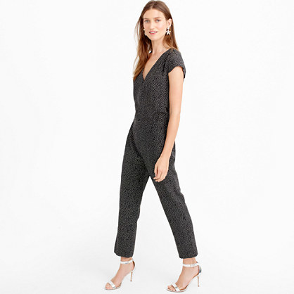 Silk Jumpsuit In Constellation Dot - neckline: low v-neck; sleeve style: sleeveless; secondary colour: white; predominant colour: black; length: ankle length; fit: body skimming; fibres: silk - 100%; sleeve length: sleeveless; texture group: silky - light; style: jumpsuit; pattern type: fabric; pattern: patterned/print; occasions: creative work; season: s/s 2016; wardrobe: highlight