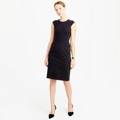 Tall Interview Dress - style: shift; sleeve style: capped; fit: tailored/fitted; pattern: plain; predominant colour: navy; occasions: evening, work; length: on the knee; fibres: viscose/rayon - stretch; neckline: crew; sleeve length: sleeveless; pattern type: fabric; texture group: jersey - stretchy/drapey; season: s/s 2016; wardrobe: investment