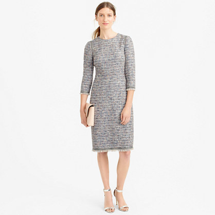 Petite Long Sleeve Multicolored Tweed Dress With Fringe - style: shift; neckline: round neck; fit: tight; pattern: plain; predominant colour: light grey; occasions: evening; length: on the knee; fibres: acrylic - mix; sleeve length: 3/4 length; sleeve style: standard; texture group: knits/crochet; pattern type: knitted - fine stitch; season: s/s 2016