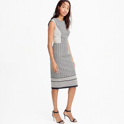 Tall Paneled Geometric Dress - style: shift; fit: tailored/fitted; secondary colour: white; predominant colour: navy; occasions: evening, work; length: on the knee; fibres: cotton - mix; neckline: crew; sleeve length: sleeveless; sleeve style: standard; pattern type: fabric; pattern size: light/subtle; pattern: patterned/print; texture group: other - light to midweight; season: s/s 2016; wardrobe: highlight