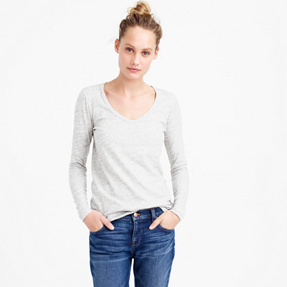 Metallic Long Sleeve Scoopneck T Shirt - neckline: v-neck; pattern: plain; style: t-shirt; predominant colour: white; occasions: casual, creative work; length: standard; fibres: cotton - 100%; fit: body skimming; sleeve length: long sleeve; sleeve style: standard; pattern type: fabric; texture group: jersey - stretchy/drapey; season: s/s 2016; wardrobe: basic
