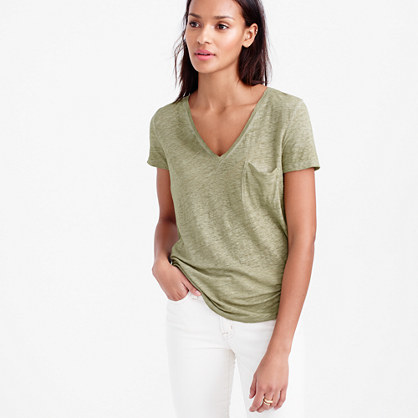 Linen Cool Dye Pocket T Shirt - neckline: low v-neck; pattern: plain; style: t-shirt; predominant colour: khaki; occasions: casual; length: standard; fibres: linen - 100%; fit: body skimming; sleeve length: short sleeve; sleeve style: standard; texture group: linen; pattern type: fabric; season: s/s 2016; wardrobe: basic