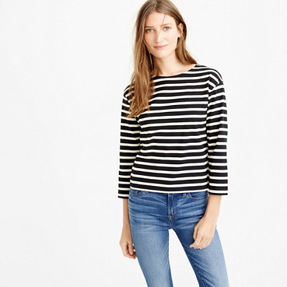 Long Sleeve Striped Crewneck T Shirt - neckline: round neck; pattern: horizontal stripes; predominant colour: black; occasions: casual, creative work; length: standard; style: top; fibres: cotton - 100%; fit: body skimming; sleeve length: 3/4 length; sleeve style: standard; pattern type: fabric; texture group: jersey - stretchy/drapey; pattern size: big & busy (top); season: s/s 2016; wardrobe: basic