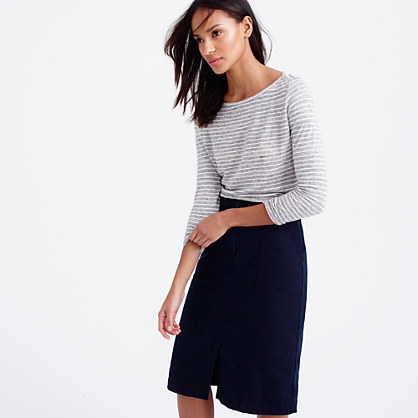 Linen Long Sleeve Striped T Shirt - neckline: round neck; pattern: horizontal stripes; style: t-shirt; predominant colour: navy; occasions: casual, creative work; length: standard; fibres: linen - 100%; fit: body skimming; sleeve length: 3/4 length; sleeve style: standard; texture group: linen; pattern type: fabric; pattern size: big & busy (top); season: s/s 2016