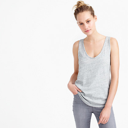 Vintage Cotton Tank Top In Metallic - sleeve style: standard vest straps/shoulder straps; style: vest top; secondary colour: silver; predominant colour: light grey; occasions: casual; length: standard; neckline: scoop; fibres: cotton - 100%; fit: loose; sleeve length: sleeveless; pattern type: fabric; pattern size: light/subtle; texture group: jersey - stretchy/drapey; pattern: marl; season: s/s 2016