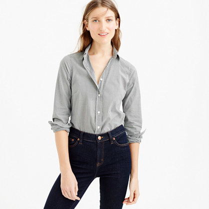 Perfect Shirt In Microgingham - neckline: shirt collar/peter pan/zip with opening; pattern: checked/gingham; style: shirt; predominant colour: light grey; occasions: casual; length: standard; fibres: cotton - 100%; fit: body skimming; sleeve length: long sleeve; sleeve style: standard; texture group: cotton feel fabrics; pattern type: fabric; season: s/s 2016; wardrobe: highlight