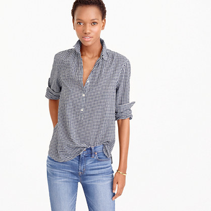 Petite Gathered Popover Shirt In Microgingham - neckline: shirt collar/peter pan/zip with opening; pattern: checked/gingham; style: shirt; secondary colour: white; predominant colour: navy; occasions: casual; length: standard; fibres: cotton - 100%; fit: straight cut; sleeve length: 3/4 length; sleeve style: standard; texture group: cotton feel fabrics; pattern type: fabric; pattern size: standard; season: s/s 2016; wardrobe: highlight; embellishment location: bust