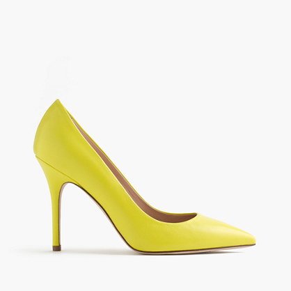 Roxie Smooth Leather Pumps - predominant colour: yellow; occasions: evening, occasion, creative work; material: leather; heel height: high; heel: stiletto; toe: pointed toe; style: courts; finish: plain; pattern: plain; season: s/s 2016; wardrobe: highlight