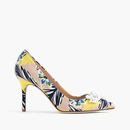 Elsie Embellished Pumps In Colorful Palm - secondary colour: yellow; predominant colour: nude; occasions: evening, occasion; material: leather; heel height: high; heel: stiletto; toe: pointed toe; style: courts; finish: plain; pattern: patterned/print; season: s/s 2016; wardrobe: event