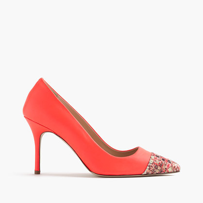 Elsie Glitter Mosaic Cap Toe Pumps - predominant colour: bright orange; occasions: occasion; material: leather; heel height: high; embellishment: glitter; heel: stiletto; toe: pointed toe; style: courts; finish: plain; pattern: patterned/print; season: s/s 2016; wardrobe: event