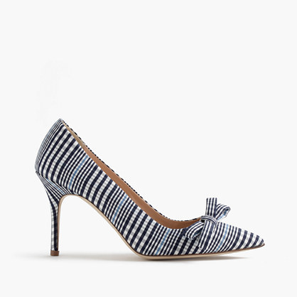 Elsie Plaid Pumps With Bow - predominant colour: black; occasions: evening, occasion, creative work; material: fabric; heel height: high; heel: stiletto; toe: pointed toe; style: courts; finish: plain; pattern: checked/gingham; embellishment: bow; season: s/s 2016