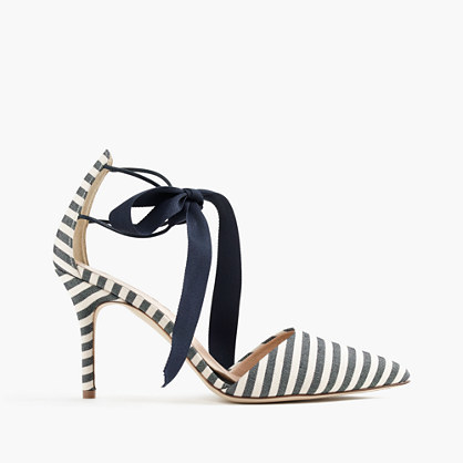 Elsie Bow Tie Pumps - predominant colour: black; occasions: evening, occasion; material: fabric; heel height: high; ankle detail: ankle tie; heel: stiletto; toe: pointed toe; style: courts; finish: plain; pattern: striped; season: s/s 2016; wardrobe: event