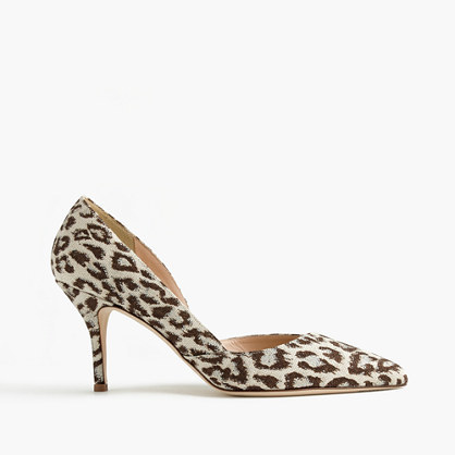 Colette D'orsay Pumps In Safari Print - secondary colour: ivory/cream; predominant colour: chocolate brown; occasions: evening, occasion, creative work; material: fabric; heel height: high; heel: stiletto; toe: pointed toe; style: courts; finish: plain; pattern: animal print; season: s/s 2016; wardrobe: highlight