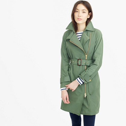 Belted Zip Trench Coat In Water Resistant Cotton - pattern: plain; style: trench coat; collar: standard lapel/rever collar; length: mid thigh; predominant colour: pistachio; fit: tailored/fitted; fibres: cotton - 100%; waist detail: belted waist/tie at waist/drawstring; sleeve length: long sleeve; sleeve style: standard; texture group: cotton feel fabrics; collar break: medium; pattern type: fabric; occasions: creative work; season: s/s 2016