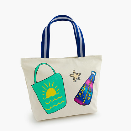Wovenplay® For Crewcuts Beach Bag - predominant colour: stone; occasions: casual, holiday; type of pattern: standard; style: tote; length: handle; size: oversized; material: fabric; finish: plain; pattern: patterned/print; multicoloured: multicoloured; season: s/s 2016; wardrobe: highlight