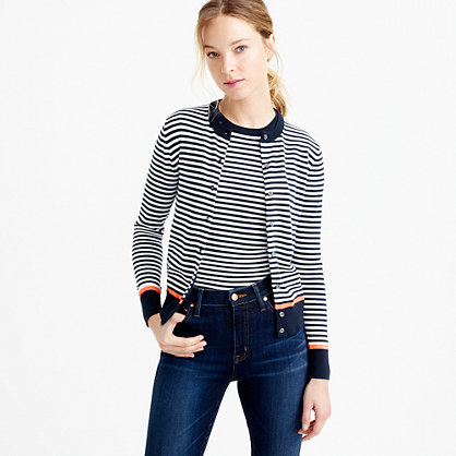 Cotton Jackie Cardigan Sweater With Neon Tipping - pattern: horizontal stripes; neckline: collarless open; secondary colour: white; predominant colour: black; occasions: casual, creative work; length: standard; style: standard; fibres: cotton - mix; fit: standard fit; sleeve length: long sleeve; sleeve style: standard; texture group: knits/crochet; pattern type: knitted - fine stitch; pattern size: standard; season: s/s 2016; wardrobe: highlight