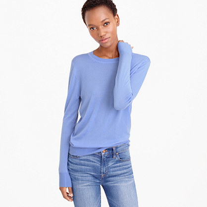 Italian Featherweight Cashmere Boyfriend Crewneck Sweater - neckline: round neck; pattern: plain; style: standard; predominant colour: pale blue; occasions: casual, work, creative work; length: standard; fit: standard fit; fibres: cashmere - 100%; sleeve length: long sleeve; sleeve style: standard; texture group: knits/crochet; pattern type: knitted - fine stitch; season: s/s 2016; wardrobe: highlight