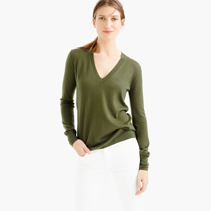Italian Featherweight Cashmere Classic V Neck Sweater - neckline: v-neck; pattern: plain; style: standard; predominant colour: khaki; occasions: casual, work, creative work; length: standard; fit: standard fit; fibres: cashmere - 100%; sleeve length: long sleeve; sleeve style: standard; texture group: knits/crochet; pattern type: knitted - fine stitch; season: s/s 2016