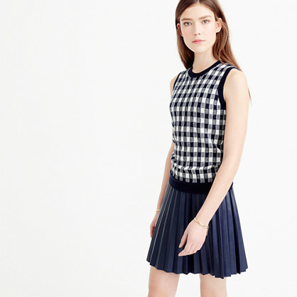Italian Featherweight Cashmere Shell In Gingham - sleeve style: sleeveless; pattern: checked/gingham; style: standard; secondary colour: white; predominant colour: black; occasions: casual, creative work; length: standard; fit: standard fit; neckline: crew; fibres: cashmere - 100%; sleeve length: sleeveless; trends: monochrome; texture group: knits/crochet; pattern type: knitted - fine stitch; pattern size: big & busy (top); season: s/s 2016; wardrobe: highlight
