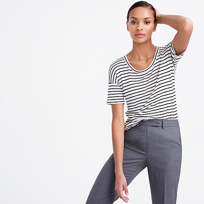 10 Percent T Shirt In Stripe - pattern: striped; style: t-shirt; predominant colour: white; secondary colour: black; occasions: casual; length: standard; fit: body skimming; neckline: crew; sleeve length: short sleeve; sleeve style: standard; pattern type: fabric; texture group: jersey - stretchy/drapey; fibres: viscose/rayon - mix; multicoloured: multicoloured; season: s/s 2016; wardrobe: highlight