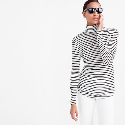 10 Percent Turtleneck T Shirt In Stripe - pattern: horizontal stripes; length: below the bottom; style: t-shirt; neckline: roll neck; predominant colour: white; secondary colour: black; occasions: casual; fibres: polyester/polyamide - stretch; fit: body skimming; sleeve length: long sleeve; sleeve style: standard; trends: monochrome; texture group: jersey - clingy; pattern type: fabric; pattern size: standard; season: s/s 2016