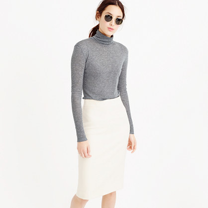 10 Percent Turtleneck T Shirt - style: t-shirt; neckline: roll neck; predominant colour: mid grey; occasions: casual, creative work; length: standard; fibres: cotton - stretch; fit: body skimming; sleeve length: long sleeve; sleeve style: standard; texture group: jersey - clingy; pattern type: fabric; pattern: marl; season: s/s 2016; wardrobe: basic