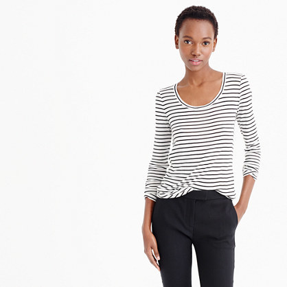 10 Percent Long Sleeve T Shirt In Stripe - neckline: round neck; pattern: horizontal stripes; style: t-shirt; predominant colour: white; secondary colour: black; occasions: casual; length: standard; fit: body skimming; fibres: cashmere - 100%; sleeve length: long sleeve; sleeve style: standard; pattern type: fabric; texture group: jersey - stretchy/drapey; multicoloured: multicoloured; season: s/s 2016; wardrobe: basic