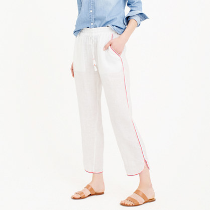 Linen Beach Pant - pattern: plain; waist detail: elasticated waist; waist: mid/regular rise; predominant colour: white; occasions: casual; length: ankle length; fibres: linen - 100%; texture group: linen; fit: straight leg; pattern type: fabric; style: standard; season: s/s 2016; wardrobe: basic