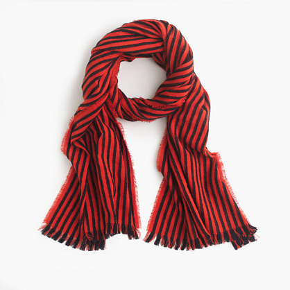 Striped Fringe Scarf - predominant colour: true red; secondary colour: black; occasions: casual, creative work; type of pattern: standard; style: regular; size: standard; material: fabric; embellishment: fringing; pattern: striped; season: s/s 2016; wardrobe: highlight